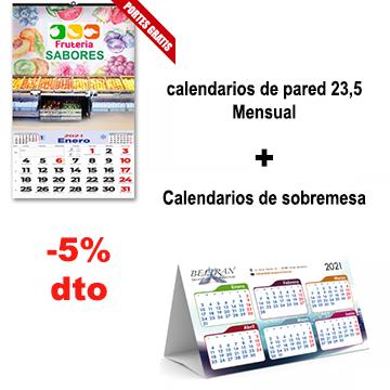 Calendarios de pared y sobremesa con descuento